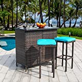 Polar Aurora 3PCS Patio Bar Set with Stools and Glass Top Table Patio Wicker Outdoor Furniture with Blue Removable Cushions for Backyards, Porches, Gardens or Poolside