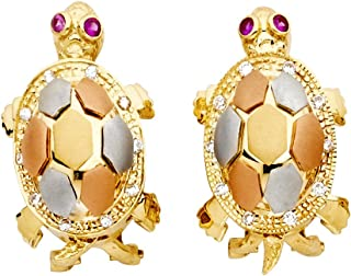 Turtle Stud Earrings Solid 14k Yellow White Rose Gold Turtle Studs Good Luck Charm Style Fashion 25 mm