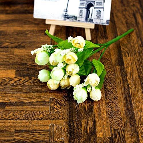 15 hoofden/boeket herfst kleine Bud rozen schutblad kunstbloem zijde Rose bloemen Rose Gift DIY bruiloft Home Christmas Decor, D, Verenigde Staten