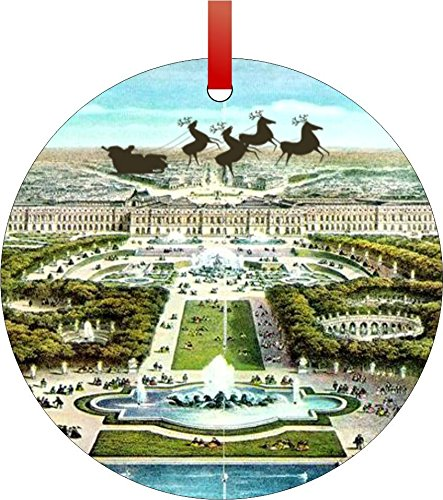 Rosie Parker Inc. Santa and Sleigh Over The Palace of Versailles-Double-Sided Round Shaped Flat Aluminum Christmas Holiday Hanging Tree Ornament with a Red Satin Ribbon. Made in The USA!