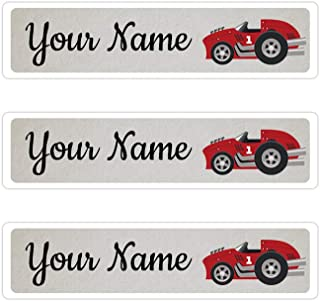 Kids Labels Peel & Stick Waterproof, Durable Personalized Name Labels - 36 Big Labels Race Car Design