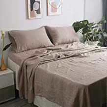100% French Natural Linen Bedding Victory Symbol Ultra Soft Stone Washed 4 Piecces Sheets Set(Khaki,King)