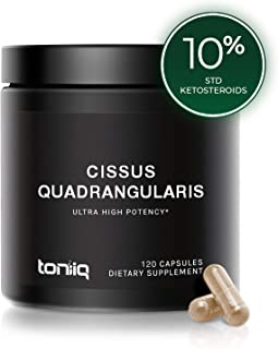 Ultra High Strength Cissus Quadrangularis Capsules - 10% Ketosteroids - 1200mg 100x Concentrated Extract - Wild Harvested in India - The Strongest Cissus Joint and Tendon Support Available - 120 Caps