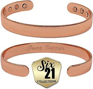 Polished Magnetic Copper Bracelet for Arthritis Relief - Pure Copper, 8 Magnets, Adjustable Bangle - For Men and Women (8mm)