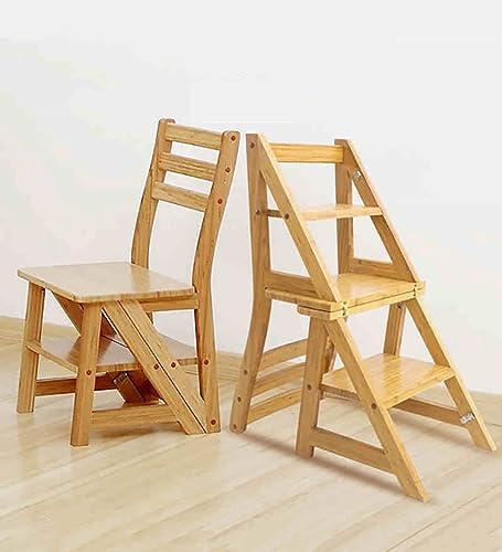 ZXWDIAN Chaise Longue échelle Pliante Chaise Tabouret en Bois Massif échelle Multifonction Stand de Fleurs chaises Pliantes