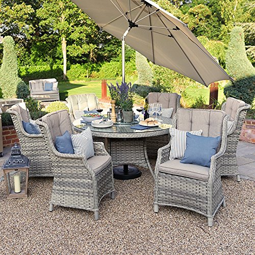 Outdoor Rattan Garden Furniture Dining Set by Nova - Oyster 6 Seat Set - 1.4m Round Table