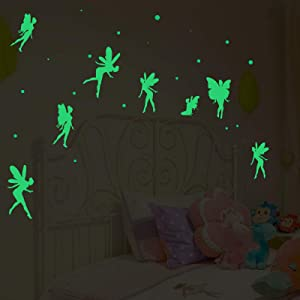 Fairy Wall Decals, Nursery Butterfly Fairy Wall Decor, Glow in The Dark Stickers for Bedroom Decor,Wall Stickers for Girls Room