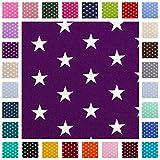 Baumwollstoff Carrie, Sterne 1cm, weiß/violett, STANDARD