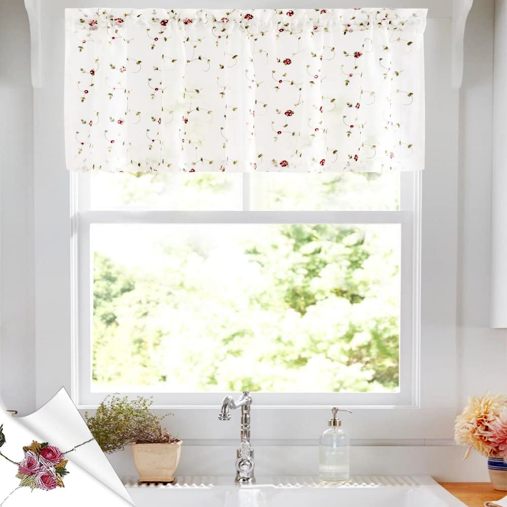 New life jinchan Sheer Valance for Kitchen Floral Embroidered Living Room Some reservation