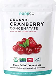 USDA Organic Cranberry Concentrate (50:1) Powder - 500mg is Equivalent to 25,000mg of Fresh Cranberries - For Kidney Clean...