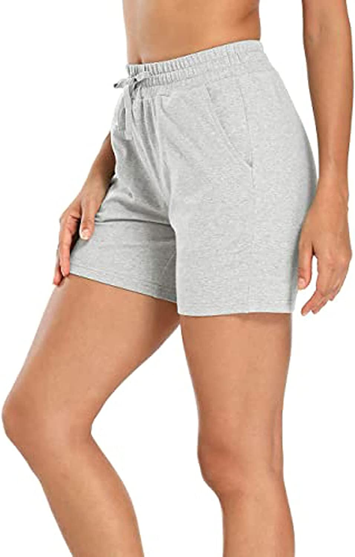 BEUU Elastic Waist Shorts for Women Lounge Shorts Pajamas Sleep Bottoms with Pocket Stretchy Drawstring Activewear