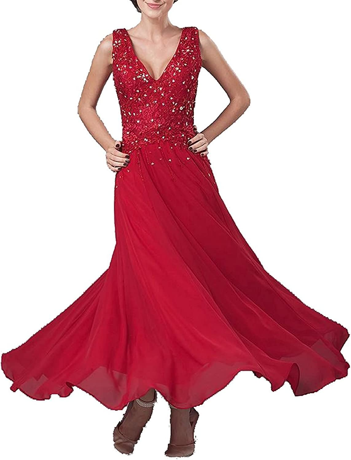 Pretydress Women's Illusion Red Crystal Sleeveless Prom Formal Mother Dress