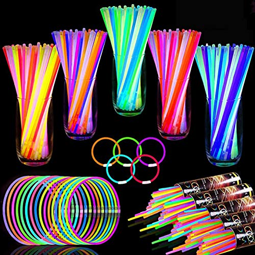 "TURNMEON 500 Glow Sticks Bulk Party Favors,Halloween Glow In the Dark Party Supplies Glow Sticks Necklaces Bracelets with Connectors 8"" Glowsticks Light Up Toys Party Pack for Neon Festival Birthday"