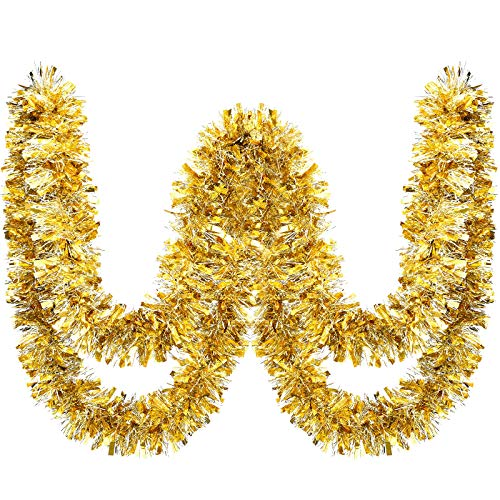 WILLBOND 26.2 Feet Christmas Tinsel Garland Metallic Tinsel Twist Garland Glitter Christmas Tree Hanging Garland Decoration for Christmas Party Indoor and Outdoor Ornament (Gold and Silver)