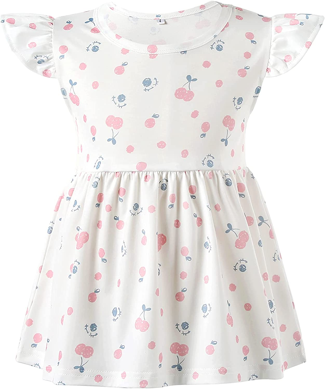 U/D Girls' Summer Short Sleeve T-Shirt Basic Round Neck Ruffle T-Shirt Blouse 4 to 7 Years Old