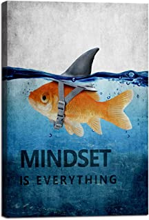 "Inspiration Wall Art Posters Goldfish Pictures Big Shark Canvas Painting Mindset is Everything Print Poster Artwork Wooden Home Decor for Living Room Bedroom Office Framed Ready to Hang (24""Wx36""H)"