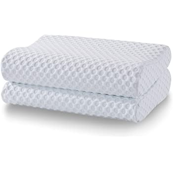 Comfort & Relax Memory Foam Contour Pillow for Neck Pain, Gel-Infused AirCell-tech Foam, Standard, 2-Pack