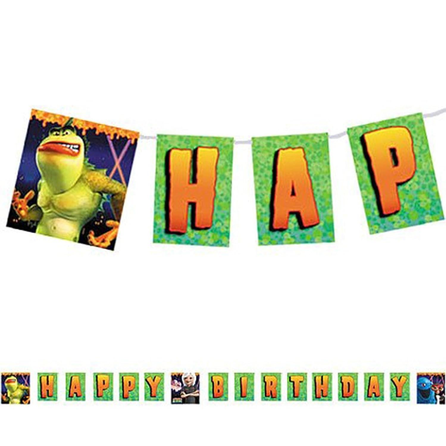 Monsters vs. Aliens Plastic Happy Birthday Banner (1ct)