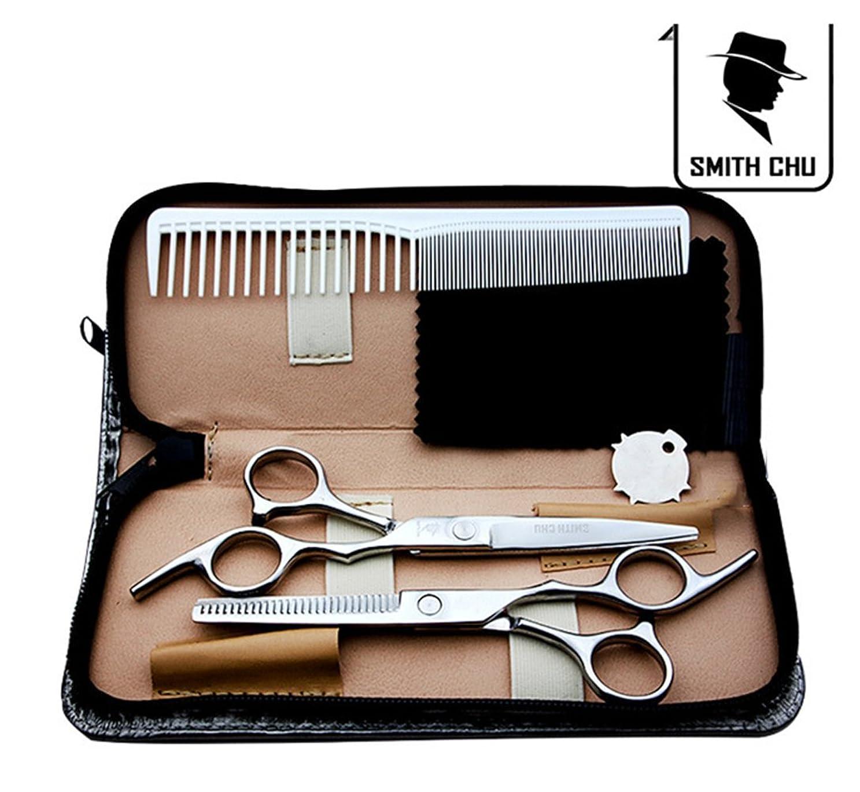 設計歯付録散髪はさみ ヘアカット スキハサミ 髪切りはさみ 2本セット 理美容プロ仕様 ケース付き 自宅でヘアメイク