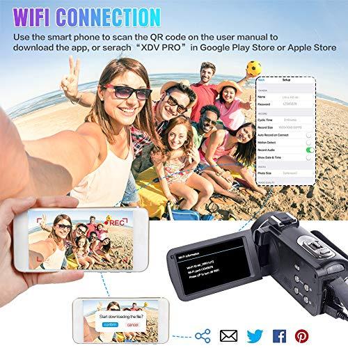 4K Camcorder Ultra HD Videokamera 48MP WiFi Vlogging Kamera für YouTube 3.0 Zoll Touchscreen 18X Digital Zoom Digital Videokamera mit Mikrofon, Fernbedienung und Gegenlichtblende