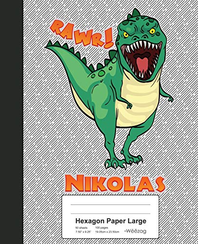 Hexagon Paper Large: NIKOLAS Dinosaur Rawr T-Rex Notebook (Weezag Hexagon Paper Large Notebook, Band 1830)