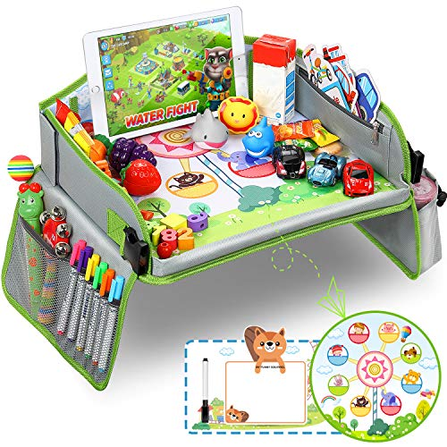lenbest Kinder Reisetisch, Riesenrad Hintergrund Knietablett Reisetisch und Faltbare Einstellbar Esstisch Spieltisch, mit Bonus für 1 Wiederverwendbare Zeichenfläche und 1 Löschbarer Stift