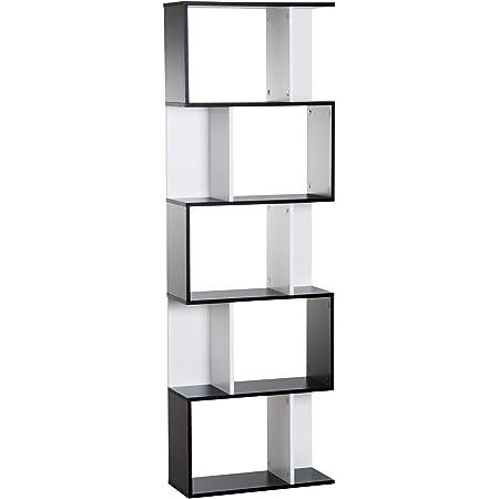 HOMCOM Bibliothèque étagère Meuble de Rangement Design Contemporain en S 5 étagères 60L x 24l x 185H cm Noir Blanc
