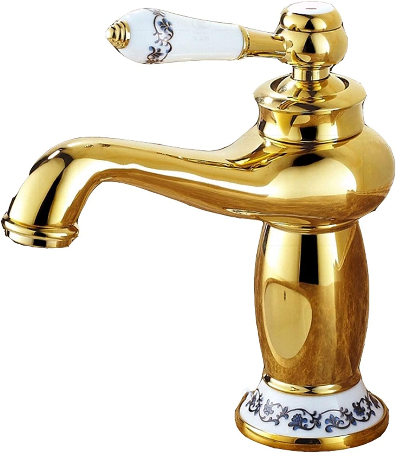 Kitchen Sink Taps ZQG European antique copper gold basin ceramic handle hot and cold water faucet Faucet