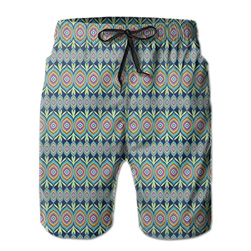 Men's Swim Trunks Board Shorts Beach Pants Surfing Boardshorts,Abstract African Shapes with Colorful Lines and Green Leaf Motifs On Blue Background,Fancy Print Hawaiian Shorts Four Size,Medium