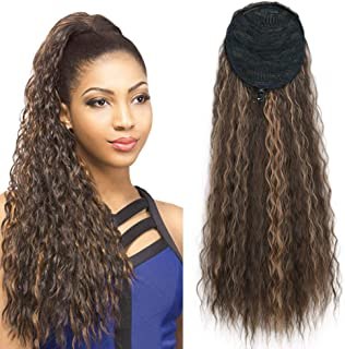 Stamped Glorious 22 Inch Long Curly Wave Clip in Ponytail Extension Synthetic Drawstring Ponytail Extensions Corn Wavy Ponytail Hair Pieces (Light Brown Mixed Strawberry Blonde)