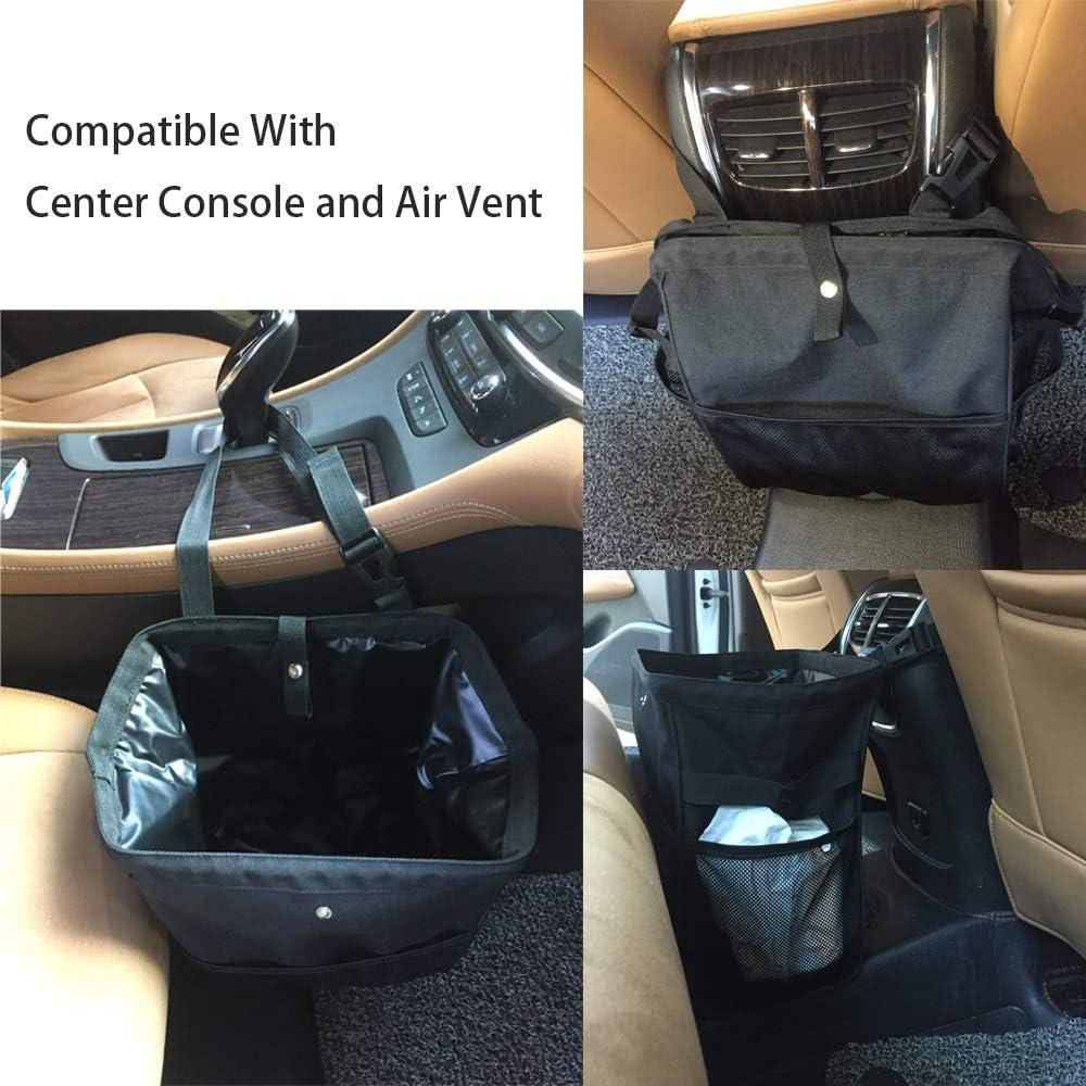 Car Trash Can Collapsible Vehicle Garbage Bin Portable Car Wastebasket with Organizer Pocket Bag for Driver Black
