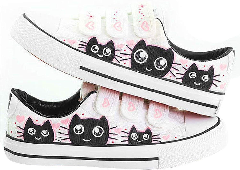 D-Sun Women's Cute Cat Fashion Sneaker Hand-Painted Canvas shoes White