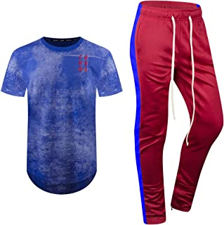 ALMAS APPAREL New 2pc Mens Short Set Printed Tracksuits Track Pants