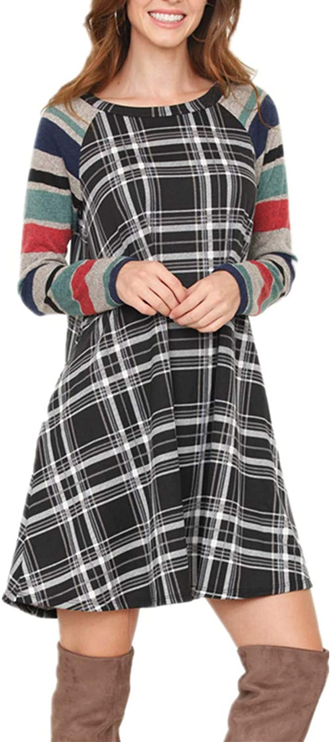 Vrkufie Women's color Block Long Sleeve Casual Loose Plaid Tunic TShirt Dress with Pockets