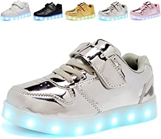 Kids Boy and Girl's Led PU Sneakers Light Up Flashing Skateboard Shoes (Toddler/Little Kid/Big Kid)