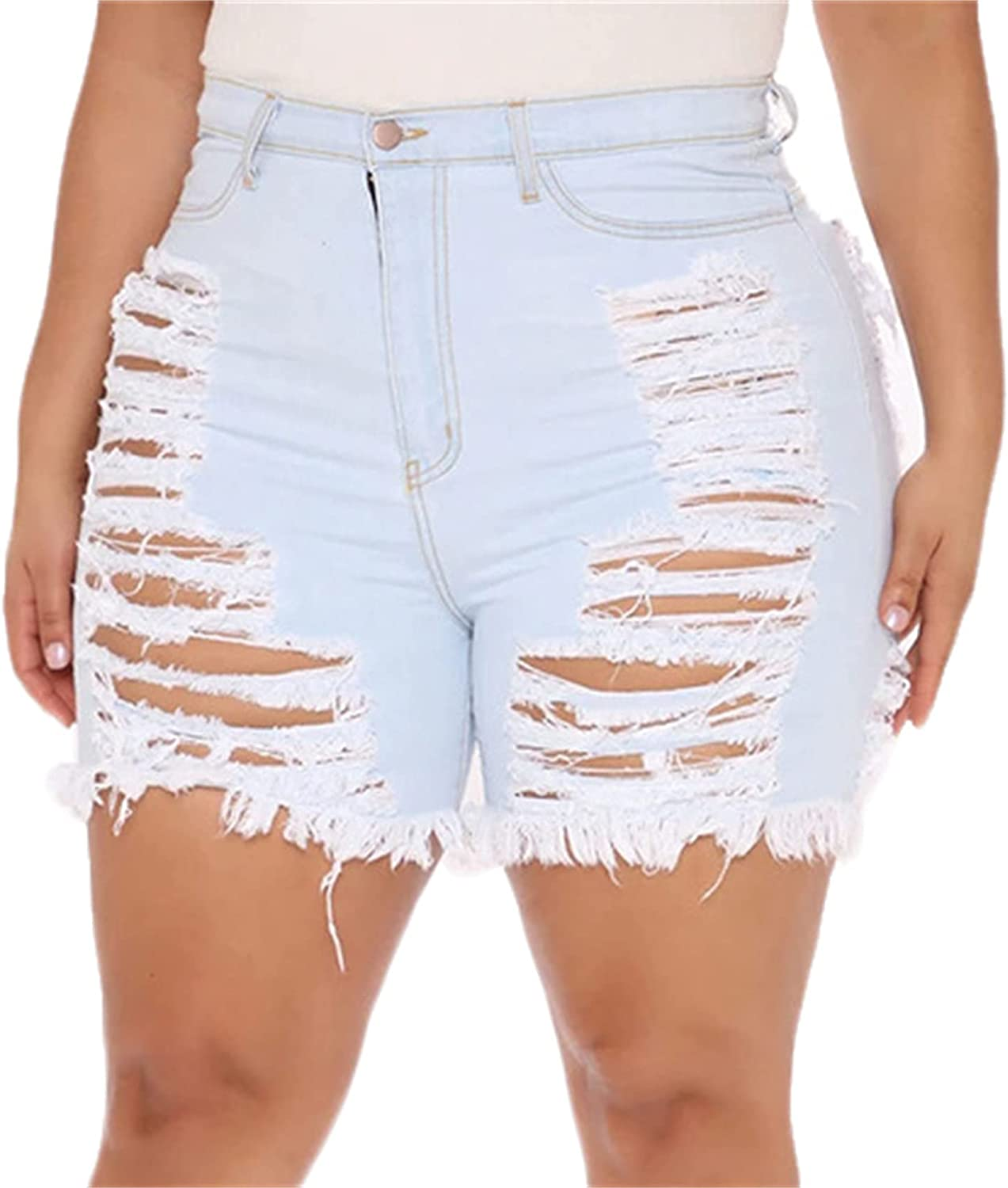 Andongnywell Womens Mid Waist Ripped Hole Short Jeans Distressed Sexy Destroyed Denim Shorts Cut Hollow Button Jeans