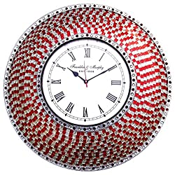 DecorShore Round Decorative Wall Clock | Handmade Mosaic Glass Frame with Beaded Bezel Large Wall Clock for Home Decor, Bedroom, Kitchen, Bathroom | Silent Motion Non-Ticking | Red and Silver - 22.5