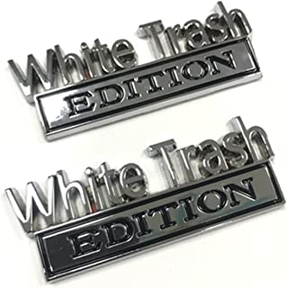 Less White 3D White Privilege Edition Emblem Decal Emblem,The Original White Privilege Edition Emblem Fender Badge,for Car Side Fender Rear Trunk Emblem Badge Chrome Decal Sticker 1 Pair