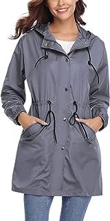 Women's Lightweight Raincoats Waterproof Active Outdoor Packable Hooded Windbreaker Rain Jacket Trench Coats