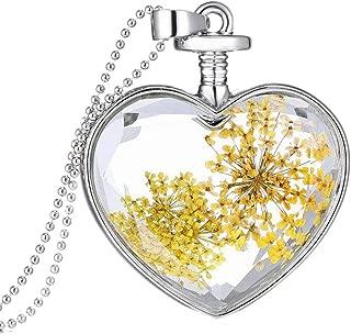 Fashion 1Pc transparent boule de cristal verre séché Fleur Collier Pendentif Bijoux