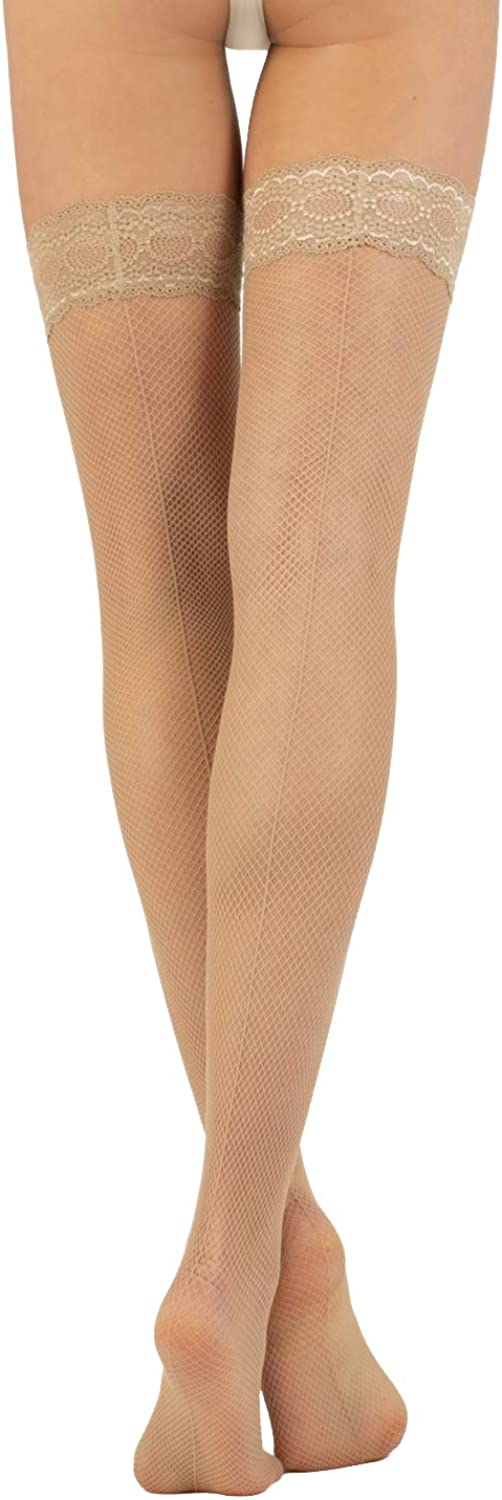 L//XL CALZITALY Vintage Fishnet Hold Ups with Back Seam Fishnet Stay Up Stockings Made in Italy Black Skin S//M