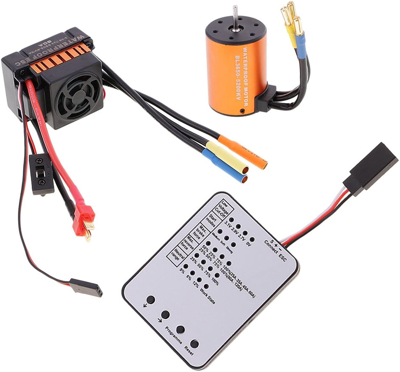 MagiDeal 3650 5200KV Motore Brushless + 60A ESC + LED Scheda di Programmazione per 1 10 RC auto