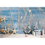 Canessioa 5x3ft Blue Wooden Nautical Theme Party Decorations Backdrop Starfish Fishing Net Sea Photography Compass Summer Theme Party Children Kids Birthday Decor Photo Studio Props Flocking Cloth
