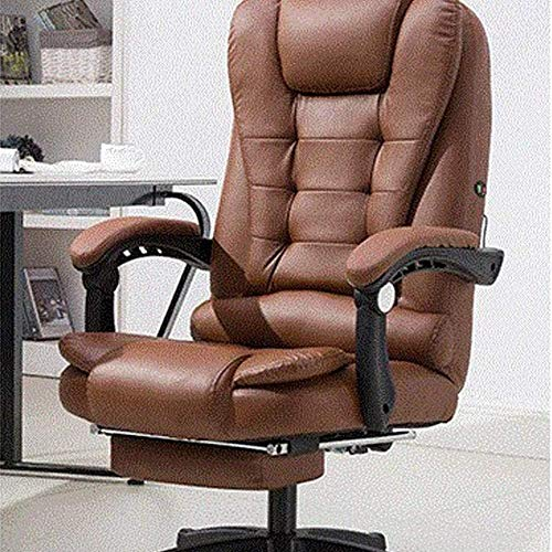 HTGW Executive Office Stuhl 7-Punkt-Massage Computer Stuhl beheizte Liege PU-Leder Drehstuhl mit hoher Rückenlehne Höhenverstellbarer Sessel (Farbe: Braun)