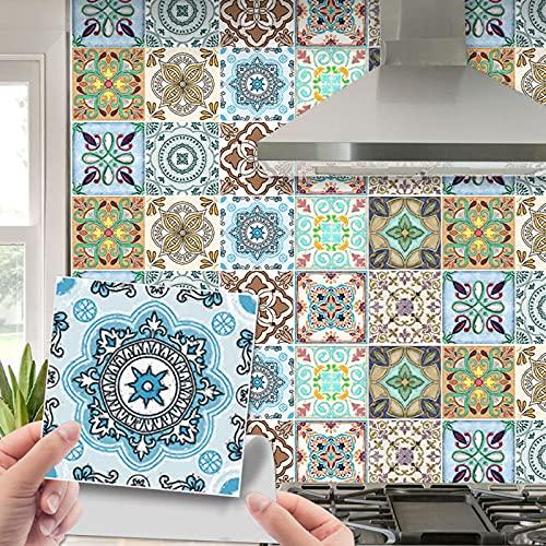 20 st marockansk stil kakelklistermärken, väggplattor självhäftande, skala och sticka väggplattor konstdekor för kök vardagsrum badrum (20 cm x 20 cm x 20 st)