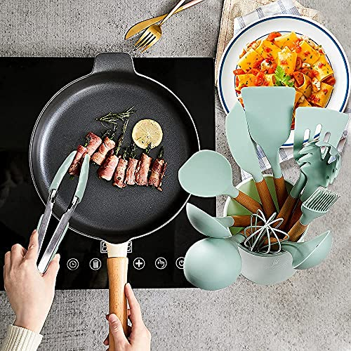 Silicone Cooking Utensil Set,11pcs Kitchen Utensil Set with Holder and Wooden Handle,BPA Free,Non-stick,Heat Resistant Cookware Set,Mint Green