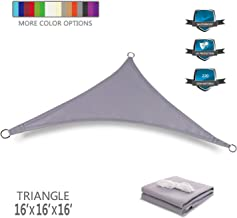 Tuosite Terylene Waterproof Sun Shade Sail UV Blocker Sunshade Patio Equilateral Triangle Knitted 220 GSM Block Fabric Pergola Carport Awning 16' x 16' x 16' in Color Grey