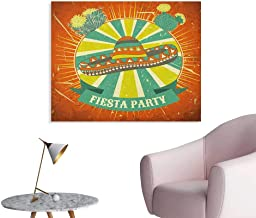 Anzhutwelve Fiesta Corridor/Indoor/Living Room Latin America Culture Inspired Ethnic Sombrero and Cactuses Worn Poster Print Orange Seafoam Yellow Green W28 xL20