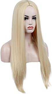 Kalyss 26 inches Platinum Blonde Sliky and Life-Like Wig Women's Long Straight Middle Parting Yaki Heat Resistant Synthetic Full Hair Wig for Women