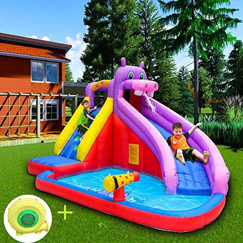 Grote Kinderboerderij Luchtkasteel Set Met Blower, Waterpistool Features, Waterglijbaan Jumper Bouncer Tuin Voor Thuisgebruik, Kids Party,400 * 300 * 265cm